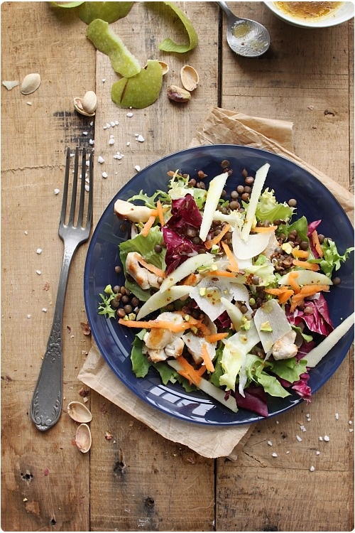 Salade de poulet et légumes, vinaigrette sucrée/salée