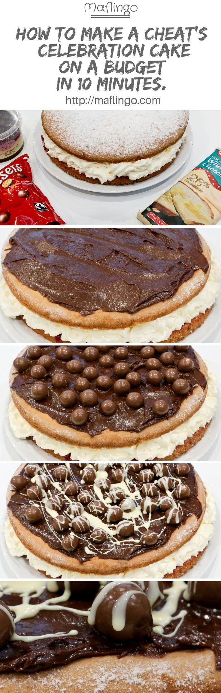 How to make a cheat's birthday celebration cake for less than £10 in less than 10 minutes. The budget way to have a fabulous, delicious chocolate Malteser fresh cream sponge cake.  Save time and save money to make this delicious Victoria Sponge Cake. Clic