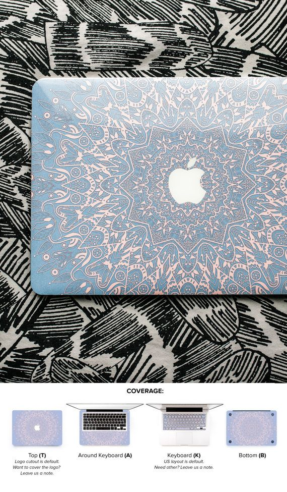 Rose Serenity Mandala Macbook Skin Macbook Pro Skin by Keyshorts