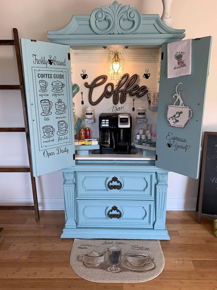 Coffee Nook, Coffee Bar Home, Kitchen Coffee Bars, Coffe Bar, Coffee Bar Station, Home Coffee Stations, White Melamine Board, Armoire Bar, Coffee Bar Design