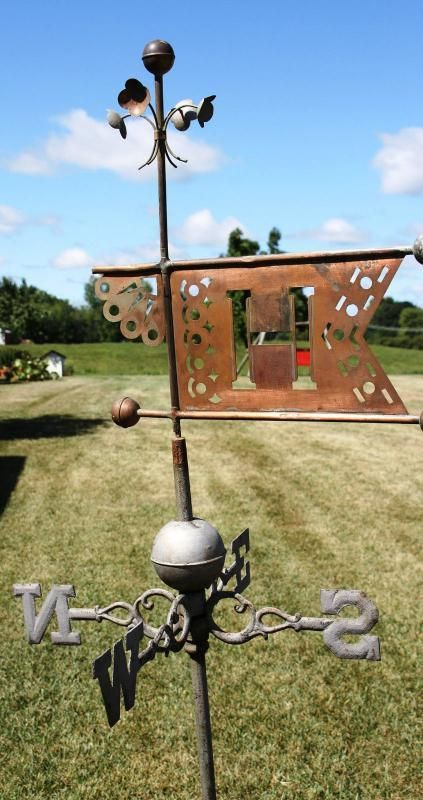 Antique WeathervaneCopper Intitial Banner Floral Motif   The Weathervanes were the perfect ornament to forecast any change in wind speed, di