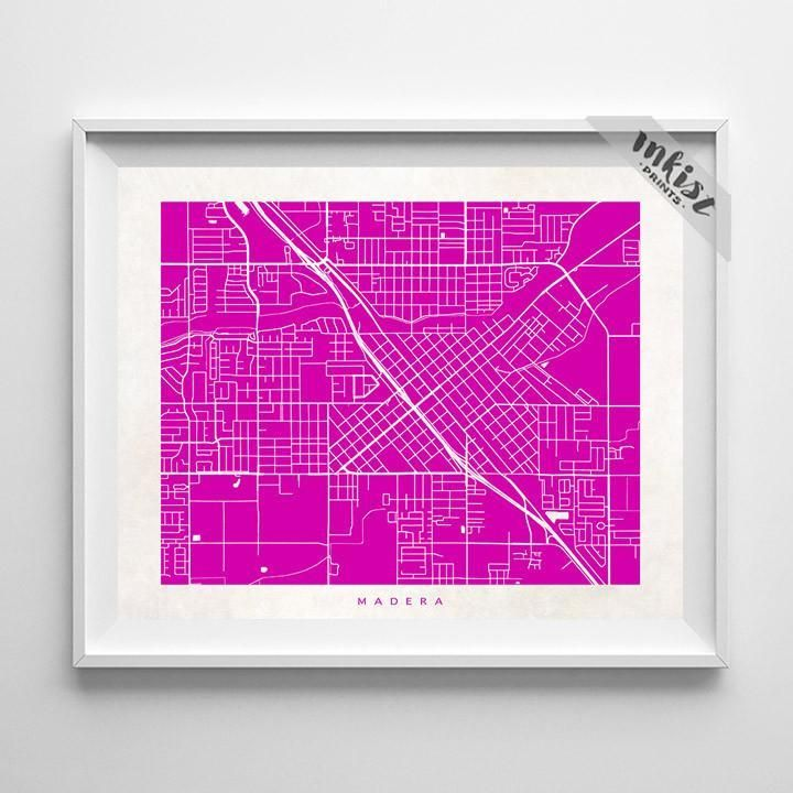 Madera, California Street Map Print