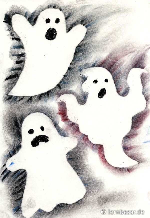 Geisterstunde - Gruselbild mit Pastellkreiden
