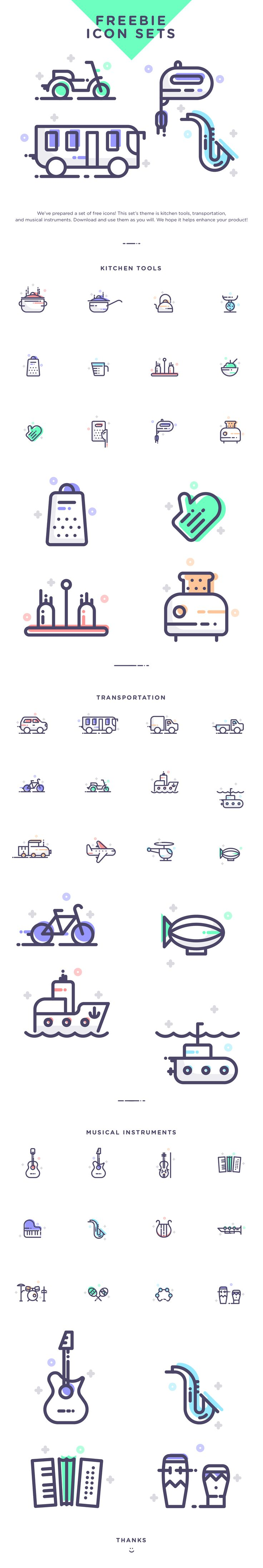 Free Download: Travel, Music & Kitchen Icon Set If…