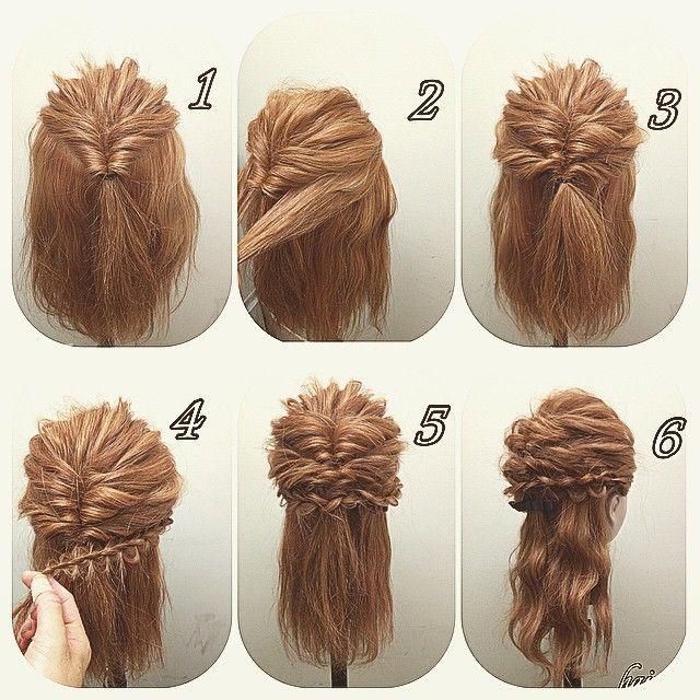 1 高めの所でくるりんぱします 2 またまたくるりんぱします。このときサイドは残し上のくるりんぱの下の毛をくるりんぱ 3 飾りっぽくしたいので丸っこい四つ編み丸型を編みます 4 両サイドやるとこんな感じです! 5 あとは波巻きして全体のバランスみて完成です(=ω)ノ #nico#hairarrange#撮影#ヘアスタイル#スタイル#美容室 #ヘアアレンジ#アップスタイル #アレンジ#アップスタイル #ニコ#結婚式#結婚式アップ#オシャレ#ヘアセット#くるりんぱ#アレンジ解説#ヘアアレンジ解説##ヘアアレンジnico