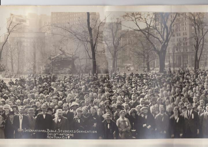 October 19-24,1923, convention of International Bible Students,NY. The IBSA became known as Jehovah's Witnesses in 1931.