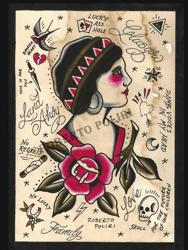 A4 Print available.  #tattooflash#tattoo#painting#art#gypsywoman