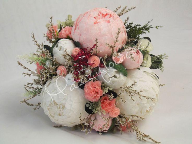 Bridal bouquet,bridesmaids bouquet,wedding bouquet,paper flower bouquet,paper flower peony,bridal bouquet with buttons,bouquet von Mazziflowers auf Etsy https://www.etsy.com/de/listing/209745238/bridal-bouquetbridesmaids-bouquetwedding