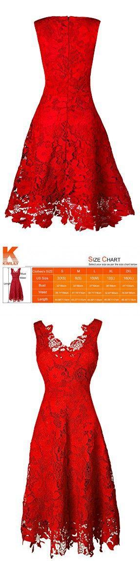 KIMILILY Women's V neck Elengant Floral Lace Swing Bridesmaid Dress(R,S)