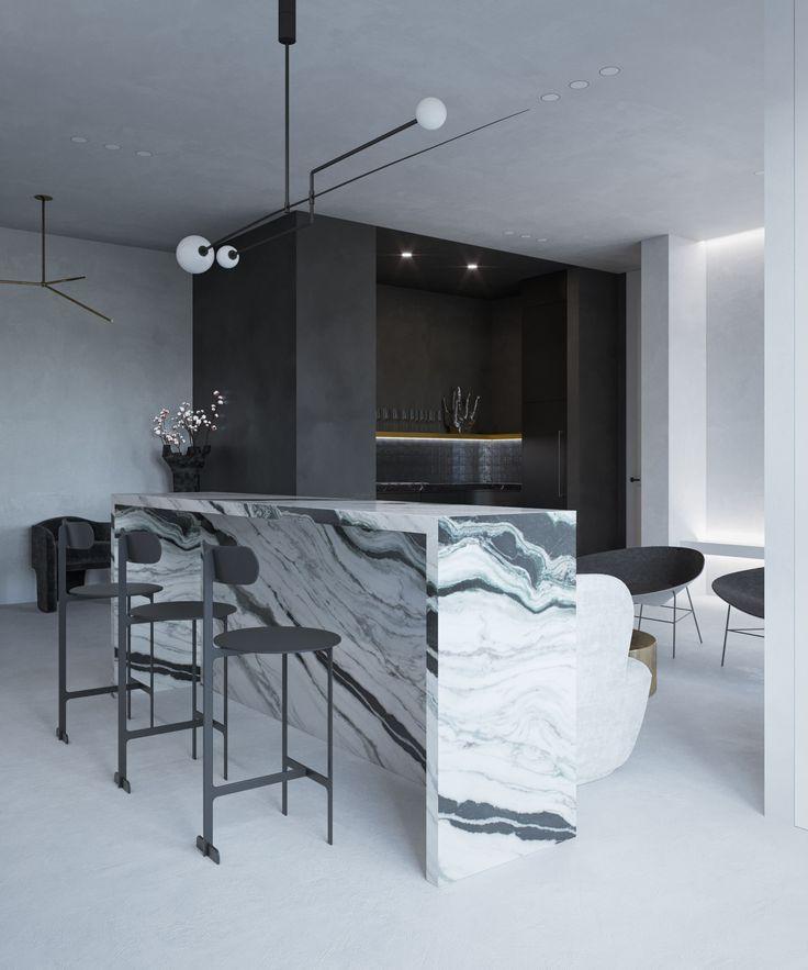 monochrome interior black & white bar michael anastassiades marble