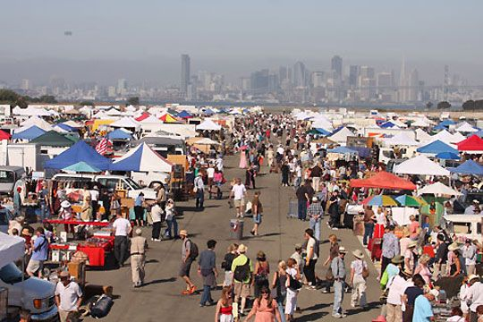 ALAMEDA FLEA MARKET, Alameda, California -- Northern California near San Francisco.  California's largest flea market. First Sunday of the month from 6am to 3pm.    800 Booths.  This flea market has a requirement that everything has to be over 20 years old.
