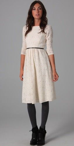 dress: Boats Neck, Dream Closet, Embroidered Dresses, White Lace, White Dresses, Black Tights, Eyelet Dresses, Lace Dresses, Neck Embroidered