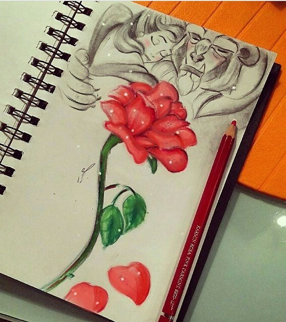 Beauty and the Beast rose art in a notebook - This is beautiful!