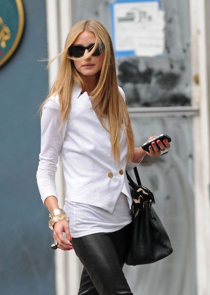 Olivia Palermo: black leather pants, white blazer