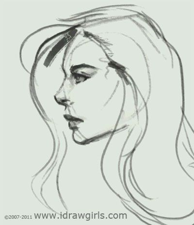 How to draw face: girl profile. Video tutorial quick sketch | Digital painting and drawing video tutorials and step by step