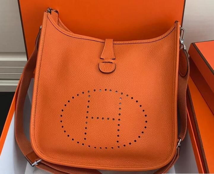 2018 Cheap Hermes Togo Leather Evelyne III PM Bag Orange