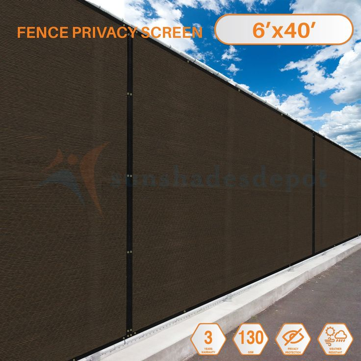 40'x6' Brown with Black Strip Commercial Privacy Fence Screen Custom Available 3 Years Warranty 130 GSM 88% Blockage