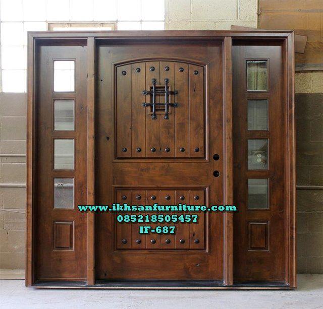 Model Pintu Utama Single Mewah 2 Jendela