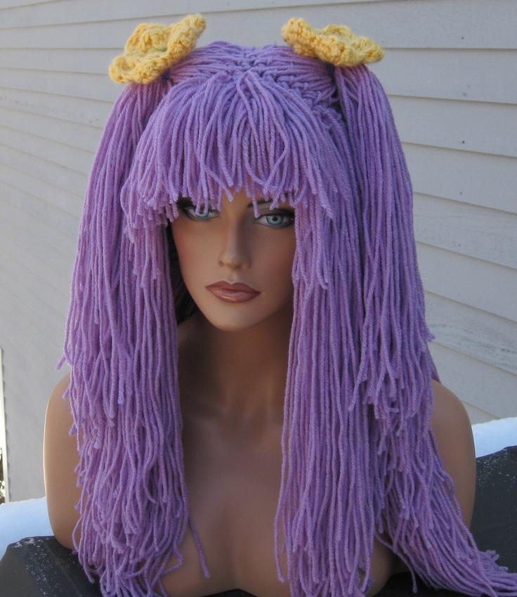 Yarn Wig Lavender Hat Long Womens Schoolgirl Crochet Ponytails  Costume Cosplay Emo. $65.00, via Etsy.
