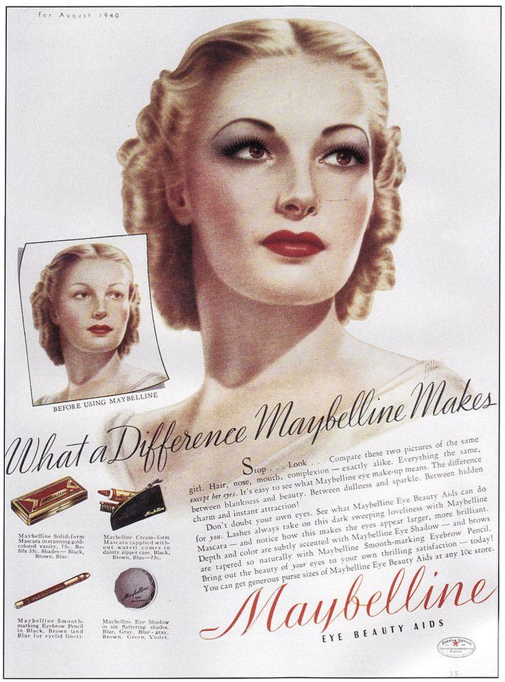 Vintage ads for Maybelline cosmetics 1940   vintage ...