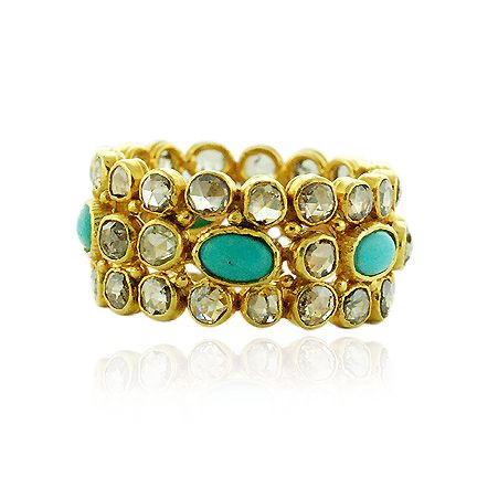 Turquoise 3.1 ct Pave Diamond 18 k Yellow Gold Band Ring Jewelry Sterling Silver