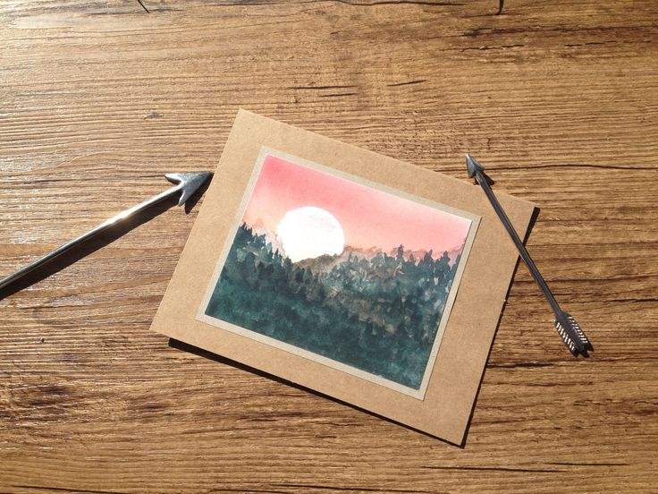Mountain view- water-color print card   $4.75CAN Art. Ink. Watercolor. Watercolour. Cards. Greeting cards. Watercolor art. Mountain. Wander. Sunset. Landscape painting.