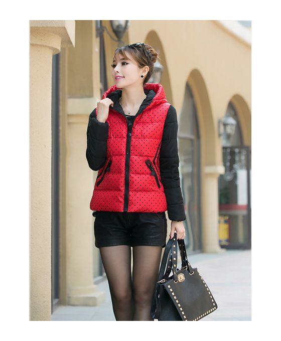 Red Eiderdown cotton Polyester Turndown collar Fluffy Coat