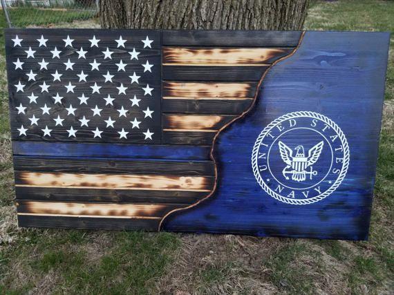 Thin blue line Flag Military US Navy Rustic Distre…