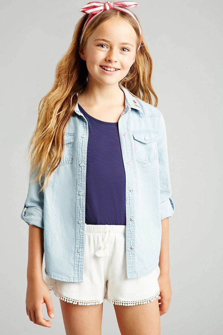 Forever 21 Girls - A pair of crinkled woven shorts featuring a tulip front with scalloped crochet trim and a tassel accent on the elasticized waist. #f21kids