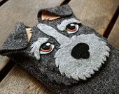 Schnauzer iPhone Case - Dog Felt Phone Cover - Cell Phone Sleeve - Handmade felt case gray