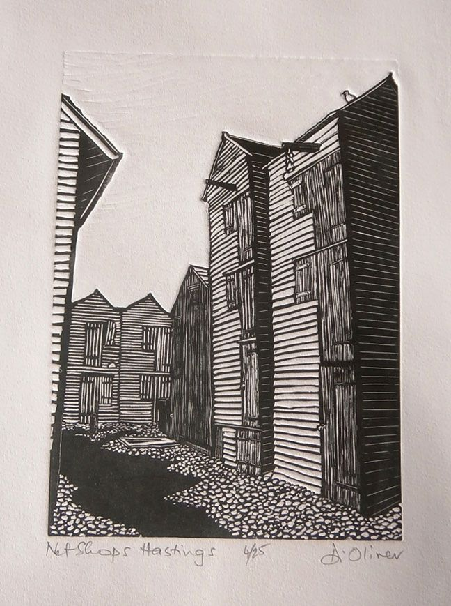 """Net Shops Hastings"" by Di Oliver. www.dioliver.co.uk Tags: Linocut, Cut, Print, Linoleum, Lino, Carving, Block, Woodcut, Helen Elstone, Buildings, Shadows."