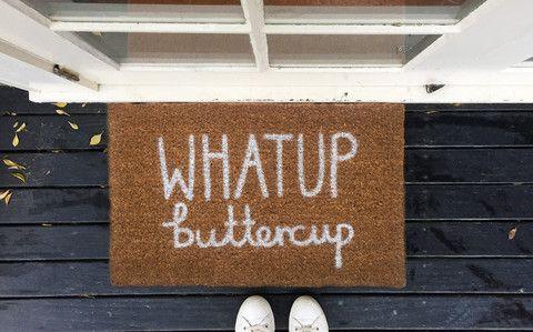 What up buttercup doormat