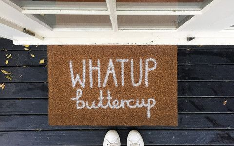 What up buttercup doormat