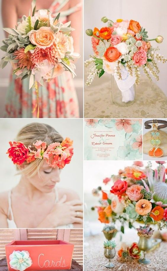 Coral and Mint with Peach Accent - 16 Most Refreshing and Trendy Spring Wedding Colors - EverAfterGuide