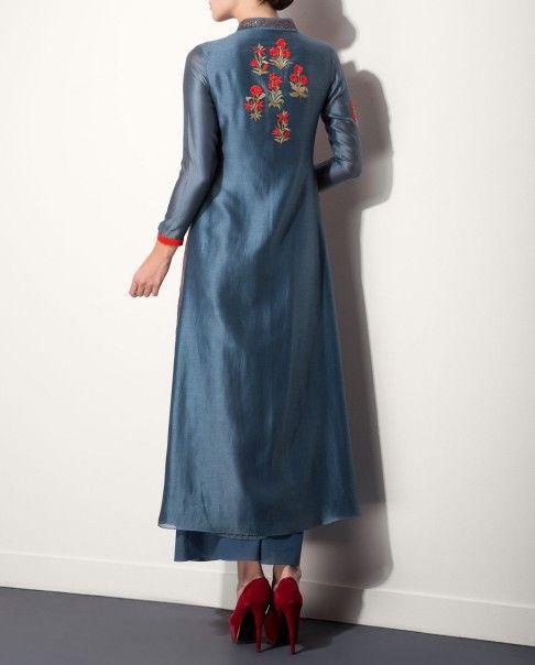 Smokey Blue Kurta Palazzo Set with Floral Embroidery - End of season sale - Sale