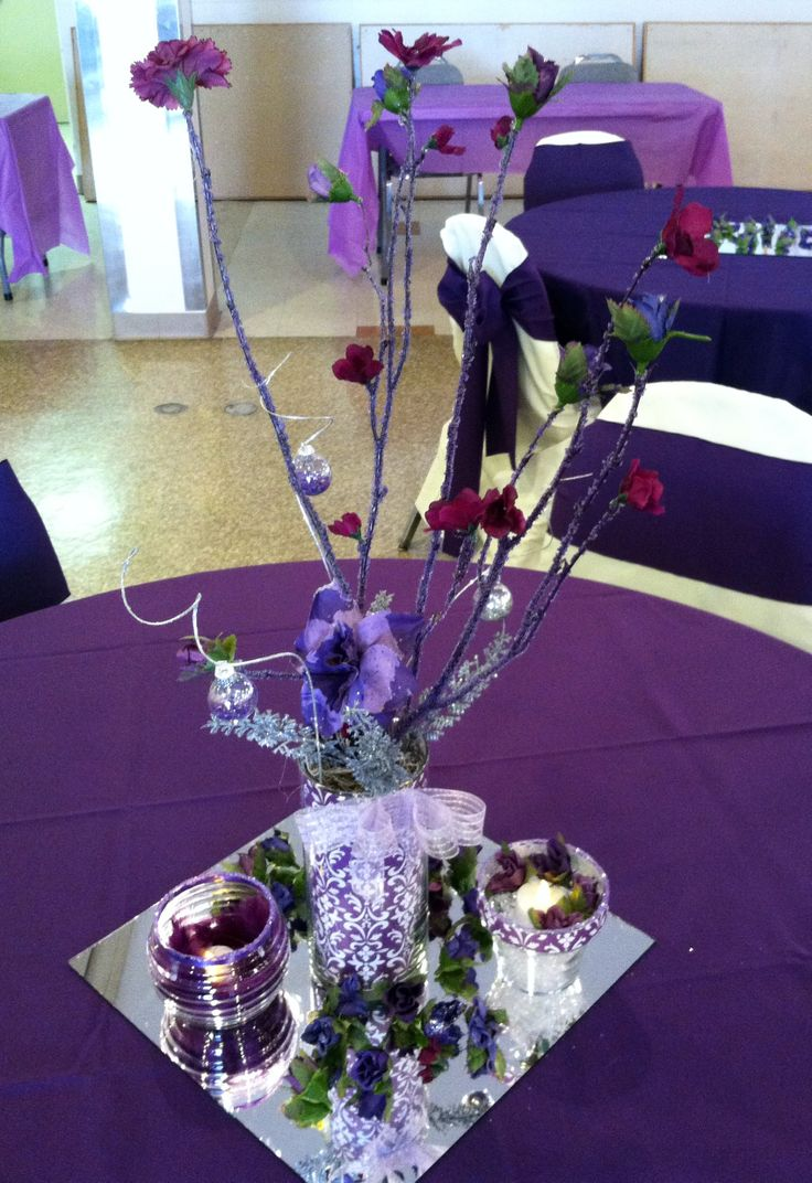 Purple centerpieces made for domestic violence fundraising
