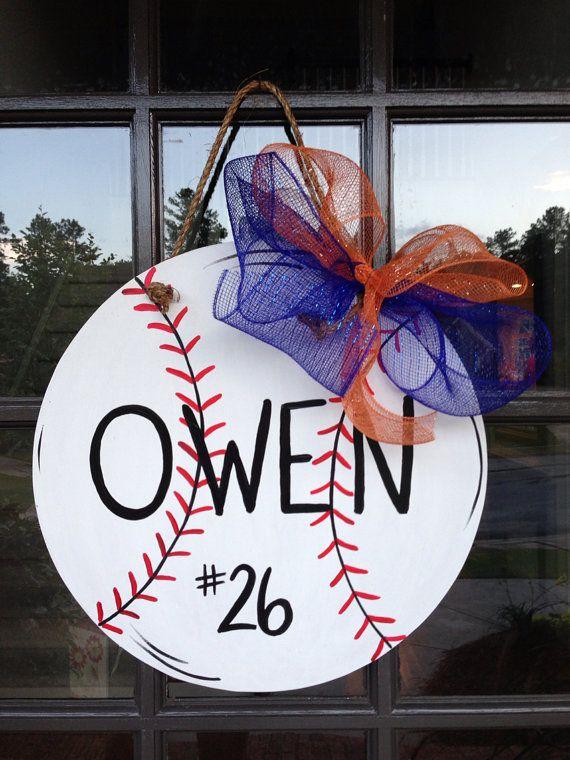 Front door hanger Baseball door hanger  by KnockinOnWood on Etsy, $25.00