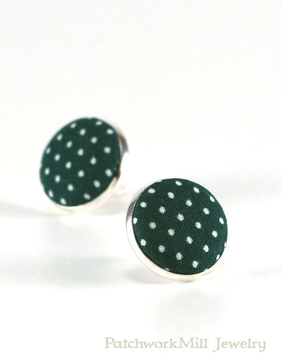 Green Stud Earrings, Deep Forest Polka Dots Earring Studs, Dark Amazon Green Fabric Covered Buttons, Silver Toned Earring Posts Jewelry Christmas Gift by PatchworkMillJewelry