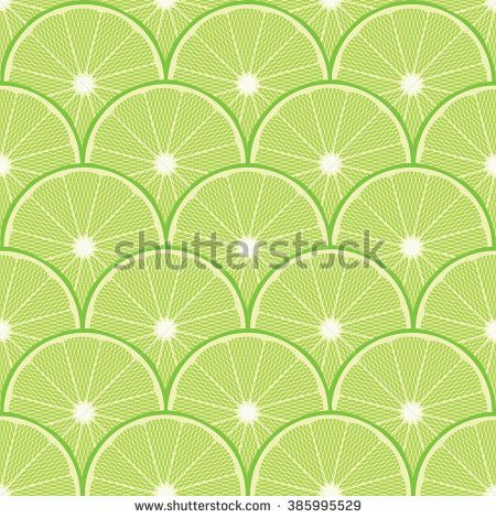 Seamless Lime Citrus Pattern Background - stock vector