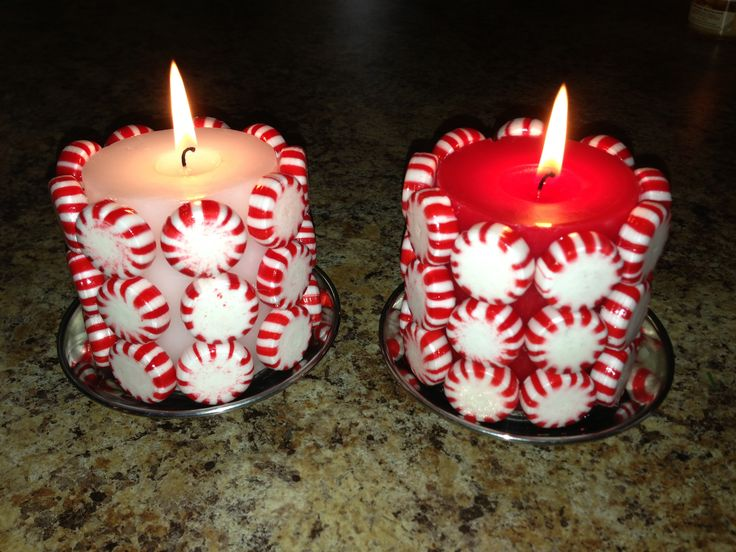 Dollar store craft for Christmas! $1 mints & $1 candle. Hot glue mints on! Great craft for kids to make for teachers, Aunt and so on.