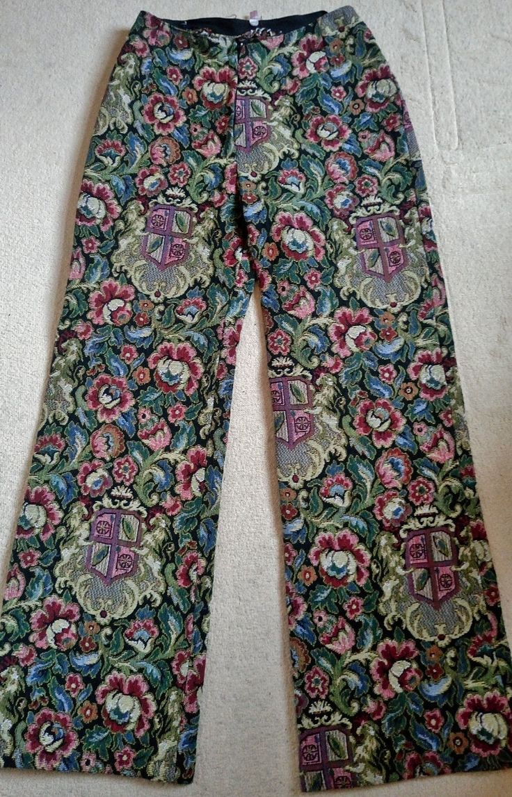 Vintage tapestry trousers pants wide leg flared high waist ladies psych floral heraldic emblem medieval by PenelopeHeavenly on Etsy