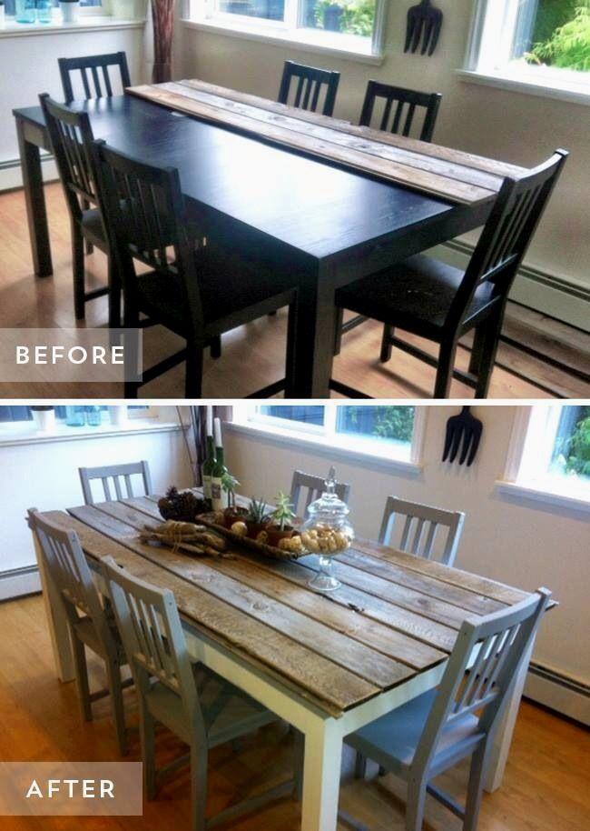 KITCHEN TABLE REDO & dont forget to carve your initials inside a heart in the corner!!