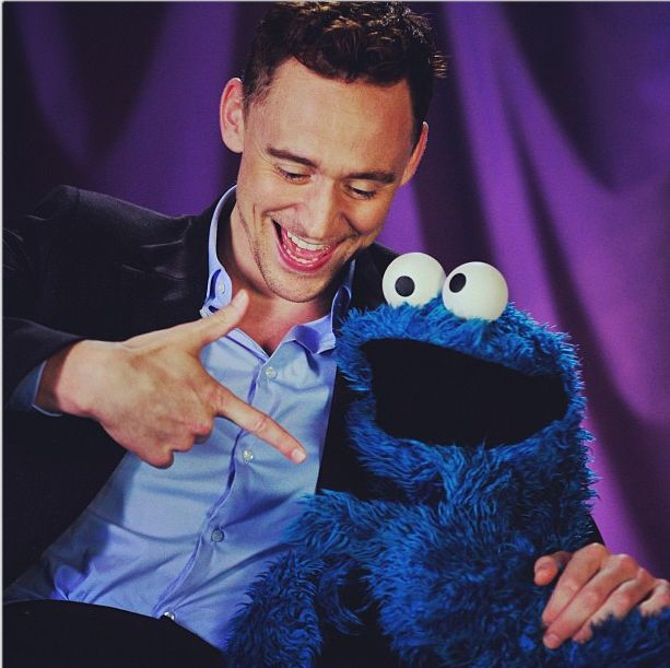 Tom Hiddleston With Cookie Monster