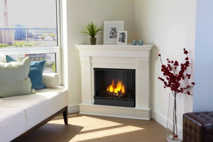 Modern white fireplace stuck in a corner