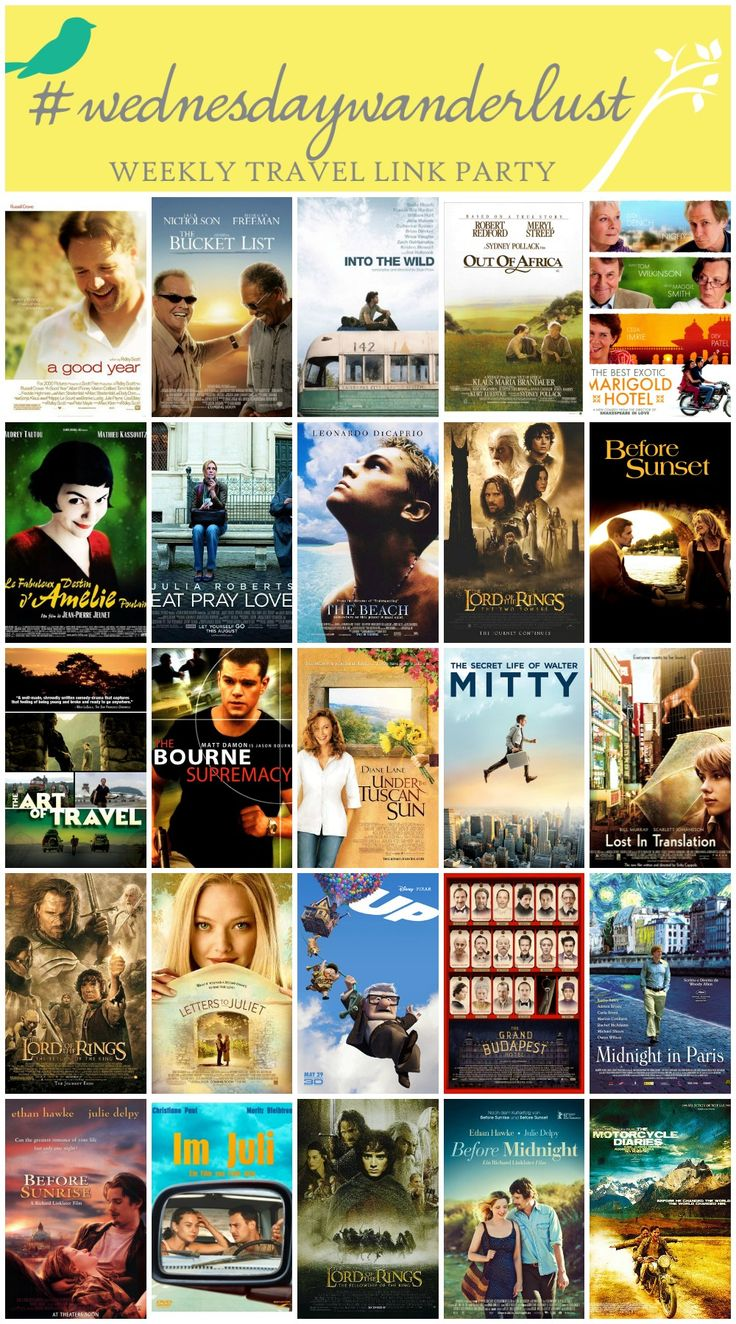Top 25 Wanderlust Movies - the best movies for satisfying your travel bug, inspiration for your bucket list. Weekly travel link party #wednesdaywanderlust