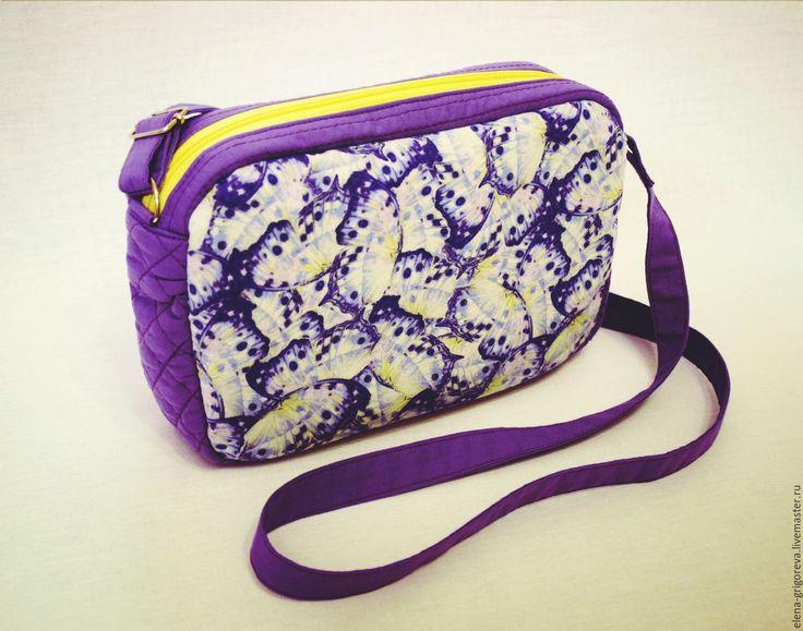 Купить Сумка кроссбоди сиреневая - сиреневый, кроссбоди, кросс-боди, бабочки, lilac, фиолетовый