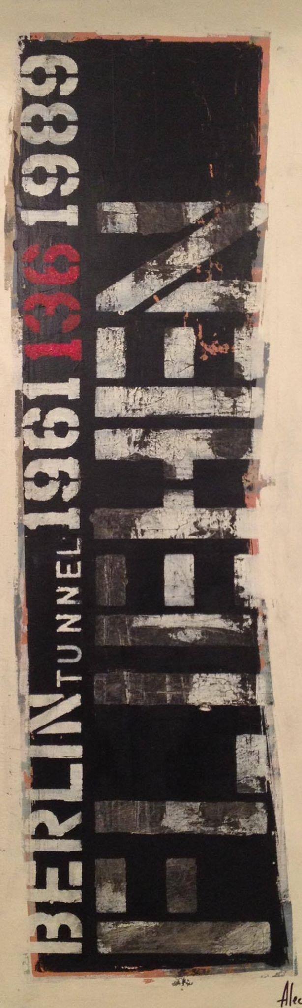 """BERLIN - Der Tunnel 36"""" x 12"""" 2015 acrylique sur toile. http://alecsurfaces.blogspot.ca/"""