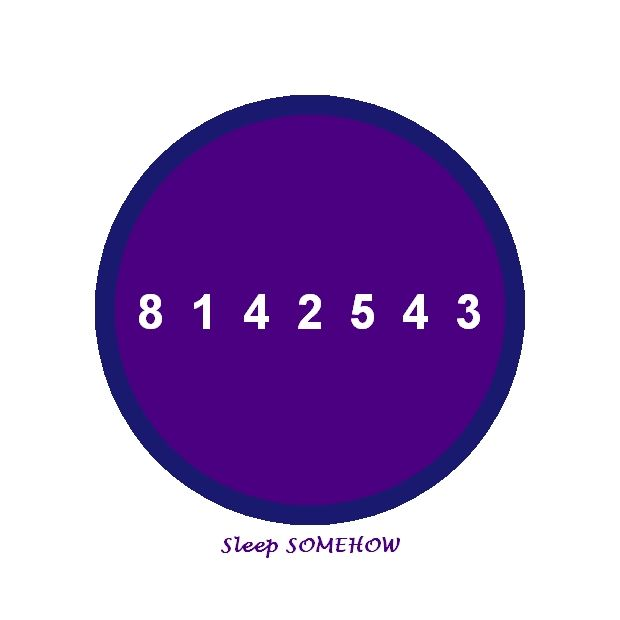 Sleep SOMEHOW By chanting this number slowly , calmly without getting anxious. It works 100% ....zzzzzzzzzzzz