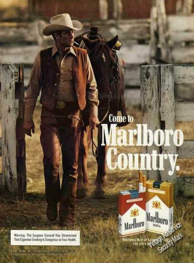 Marlboro Cowboy Leading Horse From Corral (1982)  I have never been a smoker before but I always used to love the commercials when I was a kid.  Living in Marlboro Country part of my world.