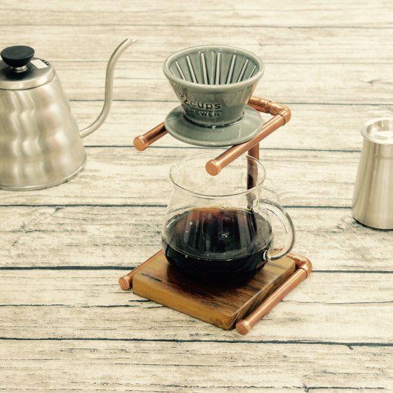 Estación de tubo de cobre hecho a mano goteador del café / Stand